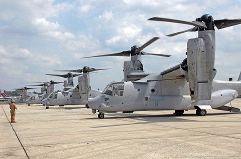 United States Marine Corps MV-22 Ospreys line the ramp at the Tennessee National Guard Army Aviation Support Facility #1 in Smyrna, TN.  The aircraft were evacuated from military bases in North Carolina in anticipation of Hurricane Irene. (Photo: Nate Crawford, National Guard Public Affairs Office)