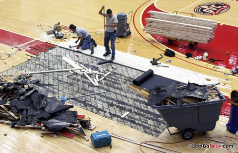 Repair is underway at the Dunn Center. (Courtesy: Austin Peay Sports Information)