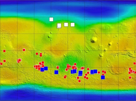 """Blue squares on this map of Mars mark the locations of possible briny-flow features. """"The flows are not dark because of being wet,"""" McEwen said. """"They are dark for some other reason."""" (Image Credit: NASA/JPL-Caltech/ASU/UA/LANL/MSSS)"""