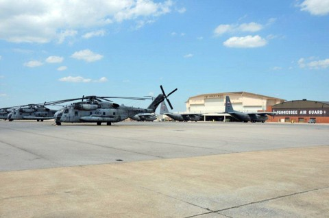 United States Marine Corps HH-53 Sea Stallion helicopters evacuated from North Carolina to Nashville.