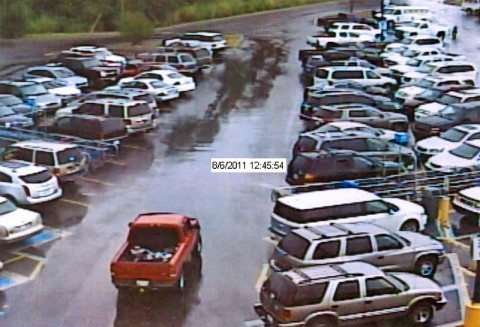The red Ford Ranger extended cab used in Saturday's robbery.