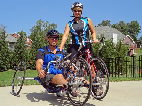 Team Linfoot Training Photo 2011: Retired Chief Warrant Officer 5 Gary Linfoot and Mari, his wife, before a training ride. Together, they'll conquer 530 miles in eight days during the Ride2Recovery 9/11Challenge beginning September 11th. (Photo courtesy of The Linfoot Family)
