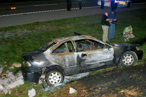 A 1999 Honda caught fire after one pot meth lab bottle explodes inside the vehicle on Martin Luther King Parkway Thursday, August 11th. (Photo by Sgt Vince Lewis)