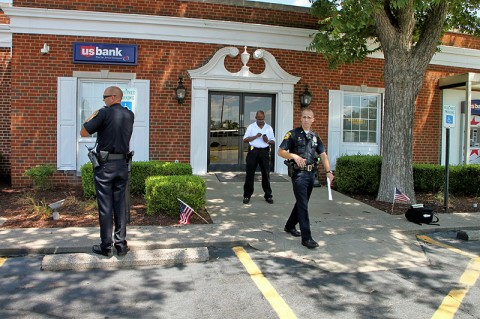 U.S. Bank on Fort Campbell Boulvard was robbed Tuesday, August 9th around 12:40pm. Suspect was caught due to the quick actions of a Fort Campbell Soldier.