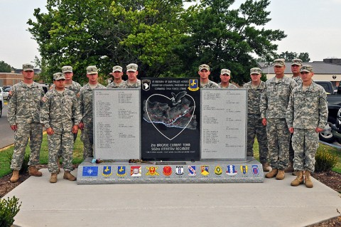 Soldiers with 2nd Brigade Combat Team, 101st Airborne Division (Air Assault), who served through four tours, stand around Strike Brigade's monument to its fallen Soldiers of Operation Enduring Freedom 2010-2011, at Fort Campbell, KY, earlier this month. The monument contains the names of 66 personnel serving with Strike Brigade, and the locations of key facilities maintained during the deployment. (U.S. Army Photo By Sgt. Joe Padula, PAO, 2nd BCT, 101st Abn. Div.)