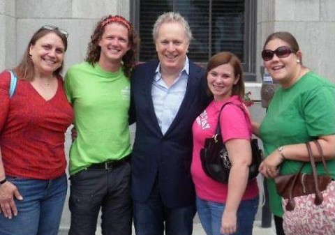 APSU professor Dr. Karen Sorenson, APSU student Phillip Reinert, Jean Charest, premier of Quebec, APSU student Shea Osborne and APSU student Sarah Simpson pose for a picture together in Quebec this summer.
