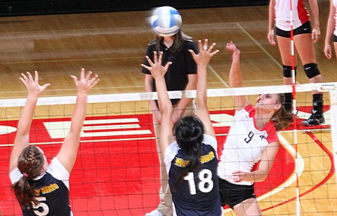 Junior Nikki Doyle led the Lady Govs with 13 kills in Friday's four-set loss at Jacksonville State. APSU Volleyball. (Courtesy: Austin Peay Sports Information)