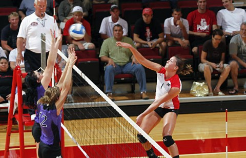 Senior outside hitter Kayla Grantham had 25 kills and 10 blocks at the MT Blue Raider Bash last weekend. The Lady Govs compete at the Butler Invitational this Friday and Saturday. (Courtesy: Robert Smith/The Leaf-Chronicle)