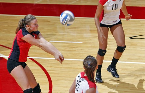 Senior libero Paige Economos and the Lady Govs volleyball team open the home portion of their schedule this weekend at the Dunn Center. APSU Volleyball. (Courtesy: Robert Smith/The Leaf-Chronicle)