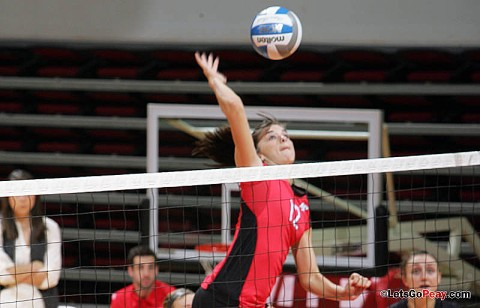 Sophomore Lauren Henderson led the Lady Govs with 14 kills, Friday, in its home-opening loss to Eastern Illinois. APSU Volleyball. (Courtesy: Austin Peay Sports Information)