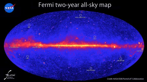 This all-sky image, constructed from two years of observations by NASA's Fermi Gamma-ray Space Telescope, shows how the sky appears at energies greater than 1 billion electron volts (1 GeV). Brighter colors indicate brighter gamma-ray sources. (Credit: NASA/DOE/Fermi LAT Collaboration)