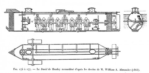 Inboard profile and plan drawings, after sketches by W.A. Alexander (1863)