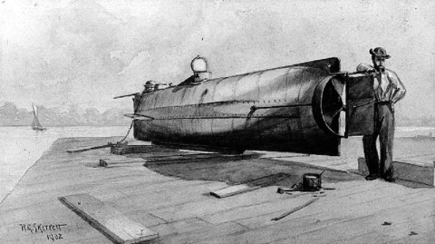 Drawing of the H. L. Hunley. Based on a Photograph taken in 1863 by George S. Cook.