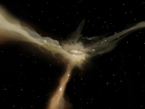 In this artist's conception, a galaxy accretes mass from rapid, narrow streams of cold gas. These filaments provide the galaxy with continuous flows of raw material to feed its star-forming at a rather leisurely pace.  (Image credits: ESA–AOES Medialab)