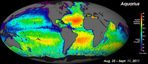 NASA's new Aquarius instrument has produced its first global map of the salinity, or saltiness, of Earth's ocean surface, providing an early glimpse of the mission's anticipated discoveries. Its rich tapestry of global salinity patterns demonstrates Aquarius' ability to resolve large-scale salinity distribution features clearly and with sharp contrast. The map provides a much better picture of ocean surface salinity than the Aquarius science team expected to have this early in the mission. (NASA/GSFC/JPL-Caltech)