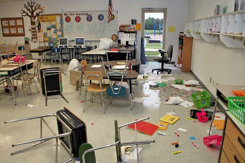 Glenellen School damage. (Photo by Jim Knoll – CPD Public Information Officer)