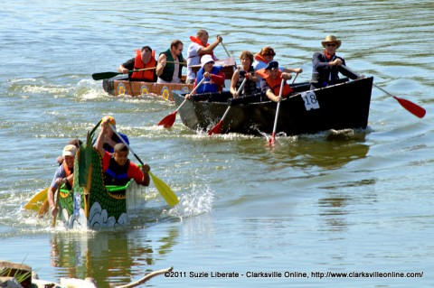 The Clarksville City Council Boat leads the pack in the 2011 Riverfest Regatta