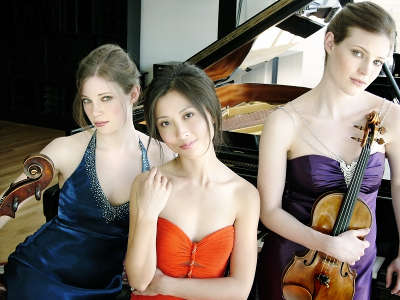 The Claremont Trio - Julia Bruskin, Cello (Left); Donna Kwong, Piano (Center); and Emily Bruskin, Violin (Right).