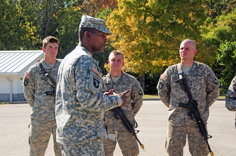 Sgt. Maj. Alonzo Smith, command sergeant major of the 2nd Brigade Combat Team, 101st Airborne Division (Air Assault), speaks to Soldiers of the Strike Brigade during the Expert Field Medical Badge at Fort Campbell, KY, October 5th. Smith encouraged the Soldiers to continue working towards earning their badges and the importance of their medical knowledge to their work. (U.S. Army Photo By Spc. Shawn Denham, PAO, 2nd BCT, 101st Abn. Div.)