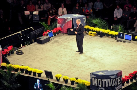 Steve Forbes, the chief executive officer of Forbes Inc., speaks to an audience of about 17,000 on how to motivate at a Get Motivated Seminar held at Nashville's Bridgestone Arena, Oct. 17th. Among the large crowd were 196 Strike Soldiers and Leaders from the 2nd Brigade Combat Team, 101st Airborne Division (Air Assault). (U.S. Army photo by Sgt. Joe Padula, 2nd BCT PAO, 101st Abn. Div.)