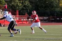 Freshman quarterback Landon Curtis setting up to throw a pass to Devin Stark.