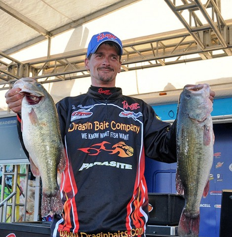 Troy Anderson of Galesville, WI, weighed in 18-pounds, 4 ounces today to come from fifth place and claim the Co-angler Division title. (Photo by Rob Newell)