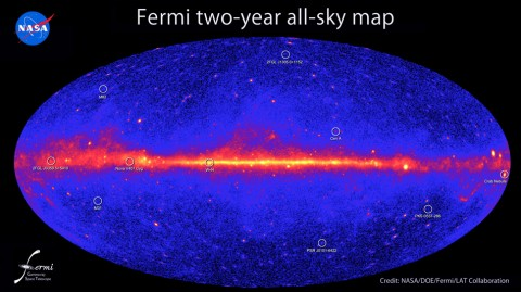 An all-sky map of gamma-ray emissions made by the Fermi Space Telescope. Hundreds of the sources in the map are complete mysteries.