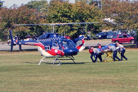 EMS responded to the scene and then helped the man onto the Air Evac to Vanderbilt. (Photo by Detective Demone Chestnut-CPD)