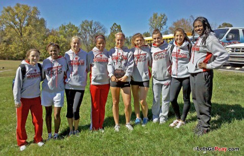 Austin Peay women's cross country team celebrates winning its second trophy in as many weeks at Kentucky Wesleyan, Saturday. APSU Cross Country. (Courtesy: Austin Peay Sports Information)