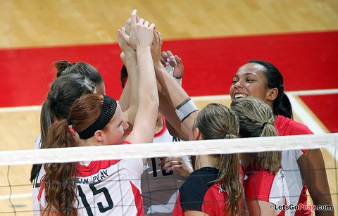 Austin Peay's volleyball team faces two pivotal road Ohio Valley Conference matches this weekend. Austin Peay Volleyball. (Courtesy: Keith Dorris/Dorris Photography)
