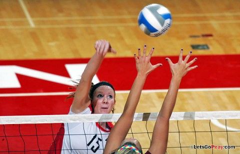 Freshman Hillary Plybon led the Lady Govs with 14 kills in a four set loss to league-leading Morehead State, Tuesday. APSU Volleyball. (Courtesy: Keith Dorris/Dorris Photography)