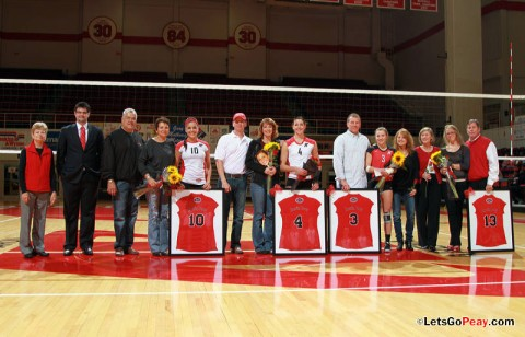 Austin Peay's volleyball team recognized its four seniors – Ilyanna Hernandez, Kayla Grantham, Paige Economos and Marie Mullins – prior to Friday's OVC victory against Tennessee Tech. APSU Volleyball. (Courtesy: Mateen Sidiq/Austin Peay)