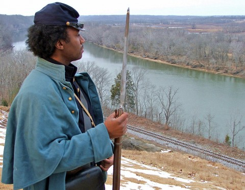 "Actor Keith McCoy portrays a member of the US Colored Troops in this scene from ""Crossroads of Change, Clarksville, Tennessee 1861-1865."" The video was researched, written and filmed in Montgomery County and is based on local journals and diaries of the Civil War era."