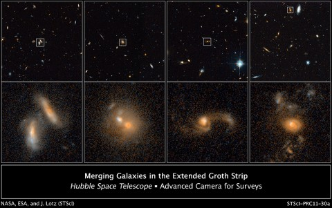 These images from NASA's Hubble Space Telescope's ACS in 2004 and 2005 show four examples of interacting galaxies far away from Earth. The galaxies, beginning at far left, are shown at various stages of the merger process. The top row displays merging galaxies found in different regions of a large survey known as the AEGIS. More detailed views are in the bottom row of images. (Credit: NASA; ESA; J. Lotz, STScI; M. Davis, University of California, Berkeley; and A. Koekemoer, STScI)