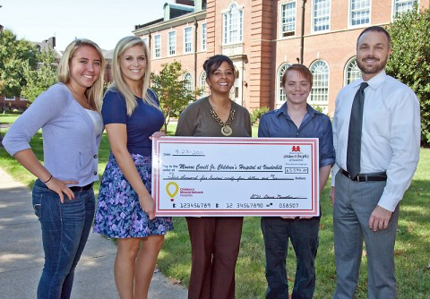 Pictured (from left) are Molly Silkowski, recruitment coordinator; Aubrey Harris, student director; Dawn Blache, representative with the Monroe Carell Jr. Children's Hospital at Vanderbilt; Marcus Brown, student director; and Victor Felts, director of Student Life and Leadership at APSU. (Photo by Beth Liggett, APSU photographer)