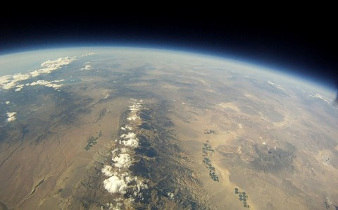 Black skies at high noon, photographed from a high-altitude helium balloon on September 3rd, 2011. (Credit: Earth to Sky, a student group located in Bishop, CA.)