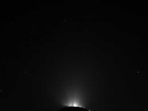 This raw, unprocessed image of Enceladus and its jets was taken on October 19th, 2011. (Image credit: NASA/JPL-Caltech/Space Science Institute)