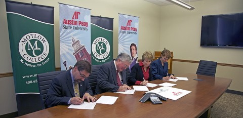 APSU Provost Dr. Tristan Denley (from left), APSU President Tim Hall, Motlow State President Dr. MaryLou Apple and Motlow State Provost Dr. Bonny Copenhaver sign the Austin Peay Guarantee on October 17th at Motlow State's campus in Tullahoma. (Photo by Melony Shemberger, APSU Public Relations and Marketing)
