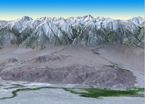 At 14,505 feet (4,421 meters) in elevation, California's Mt. Whitney, located in the Sierra Nevada Mountains on the west side of Owens Valley, is the highest point in the contiguous United States. (Image credit: NASA/GSFC/METI/ERSDAC/JAROS, and U.S./Japan ASTER Science Team)