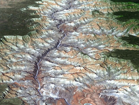 The Advanced Thermal Emission and Reflection Radiometer (ASTER) instrument on NASA's Terra spacecraft provided this spacebird's-eye view of the eastern part of Grand Canyon National Park in northern Arizona in this image, acquired July 14, 2011. (Image credit: NASA/GSFC/METI/ERSDAC/JAROS, and U.S./Japan ASTER Science Team)