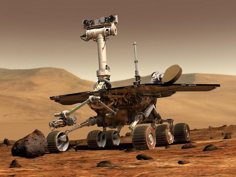 An artist's concept portrays a NASA Mars Exploration Rover on the surface of Mars. Two rovers have been built for 2003 launches and January 2004 arrival at two sites on Mars. Each rover has the mobility and toolkit to function as a robotic geologist. (Image credit: NASA/JPL-Caltech)