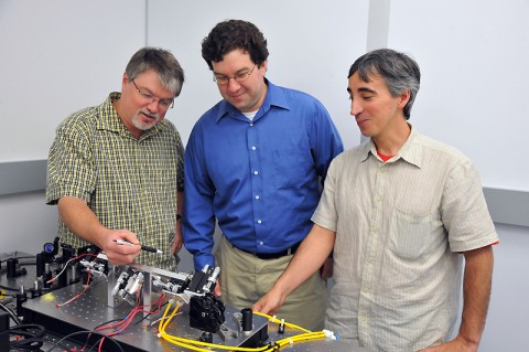 Goddard laser experts (from left to right) Barry Coyle, Paul Stysley, and Demetrios Poulios have won NASA funding to study advanced technologies for collecting extraterrestrial particle samples. (Photo Credit: NASA's Goddard Space Flight Center, Debora McCallum)