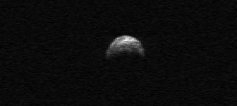 This radar image of asteroid 2005 YU55 was generated from data taken in April of 2010 by the Arecibo Radar Telescope in Puerto Rico. (Image credit: NASA/Cornell/Arecibo)