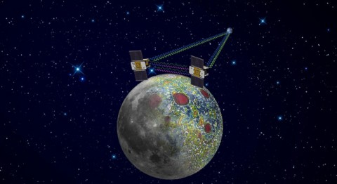 Using a precision formation-flying technique, the twin GRAIL spacecraft will map the moon's gravity field, as depicted in this artist's rendering. (Image credit: NASA/JPL-Caltech)