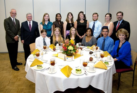 Steve Lopez (back row, far left) is seen with APSU and Middle College student essay winners during a dinner September 29th in the Morgan University Center as part of The Peay Read annual celebration. (Photo by Beth Liggett, APSU photographer)