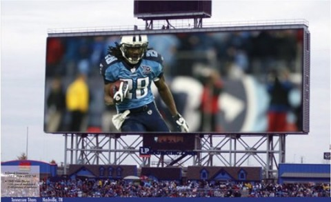 The new video boards at LP Field are the NFL's second-largest HD video screens for outdoor stadiums and four times larger than the old screens. (Courtesy of Powell Building Group)