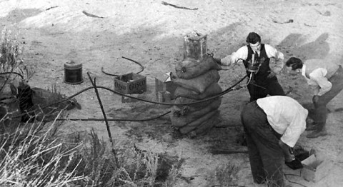 One of the early rocket motor experiments in the Arroyo Seco. (Image credit: JPL)