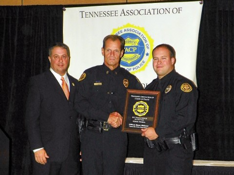 (Left to right) Bradley Lindsey, Tennessee Association of Chiefs of Police Award Committee Chairman, Chief Al Ansley, and Officer Beau Skinner.