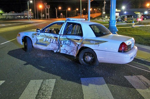 Clarksville Patrol car struck by F-150 on North Second Street. (Photos by Jim Knoll - CPD)