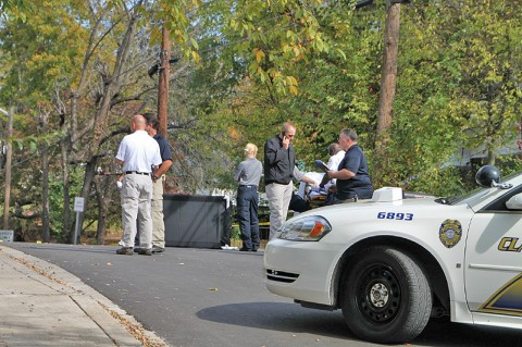 Clarksville Police work a crime scene on Martin Street where a body was found. (Photo by CPD-Jim Knoll)